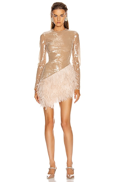Feather Trim Sequin Long Sleeve Dress