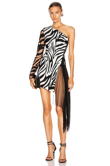 Zebra Macrame and Tulle One Shoulder Dress