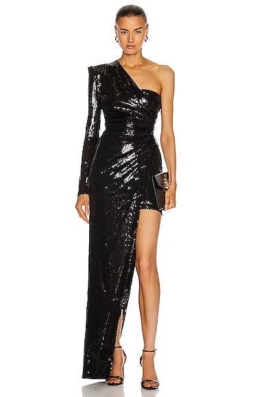 Ruched Asymmetric Sequin Gown