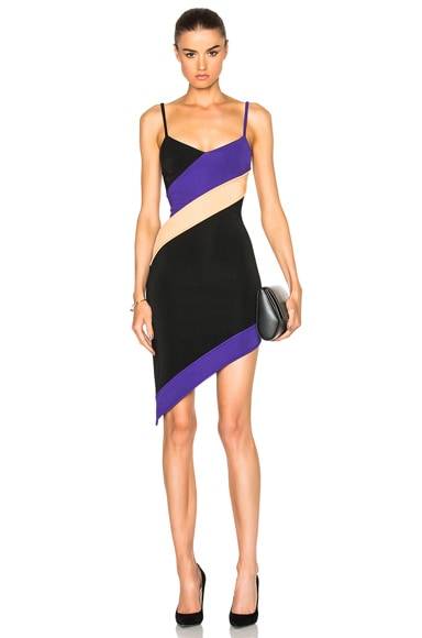 Diagonal Contrast Stripes Dress