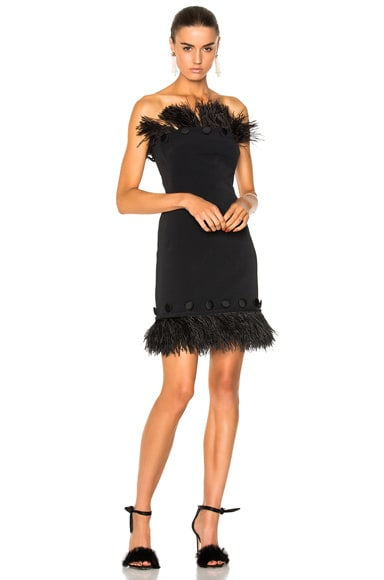Button & Feather Detail Strapless Dress