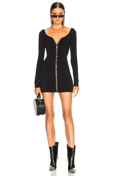 Crystal Front Zip Knit Dress