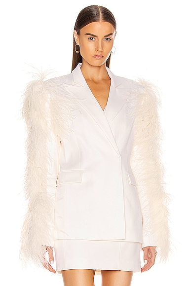 Feather Sleeved Tailored Jacket