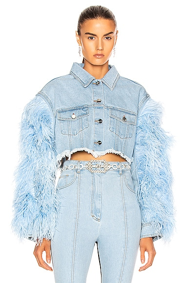 Feather Sleeve Denim Jacket