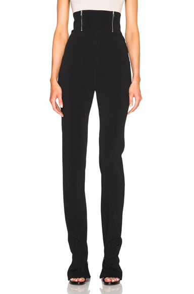 High Waisted Zip Detail Trousers