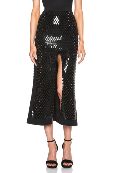 Front Split Mirror & Crystals Embroidered Skirt