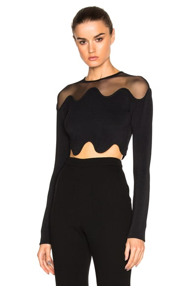 Shoulder Net Crop Top