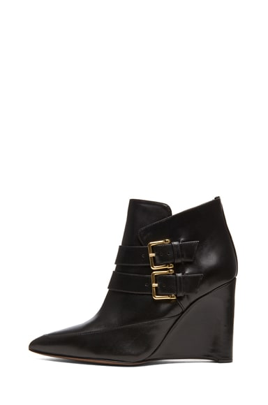 Marta Shiny Calfskin Leather Buckle Ankle Boots