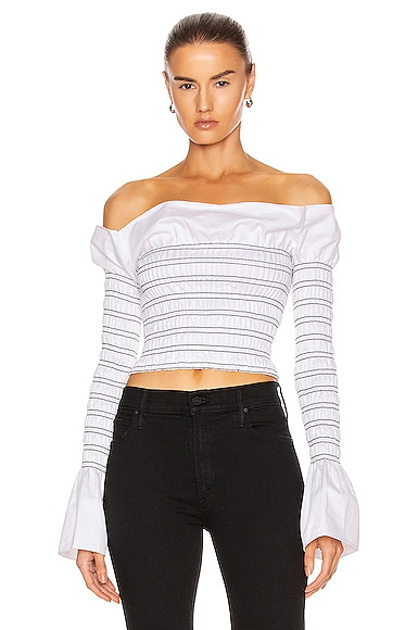Shirred Cotton Long Sleeve Top