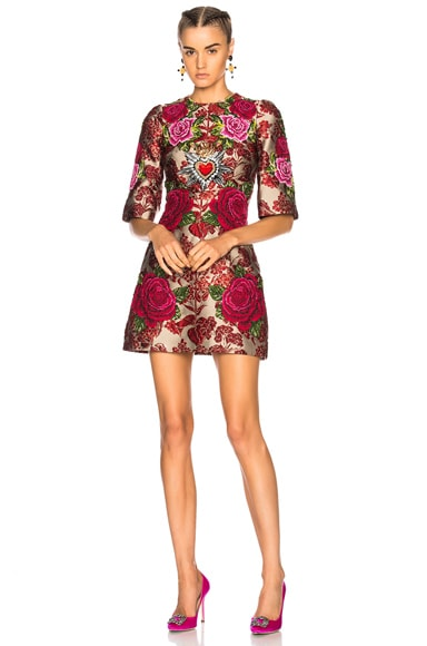 Floral Jacquard Embellished Mini Dress