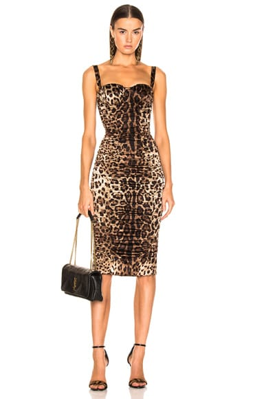 Leo Print Silk Ruched Dress