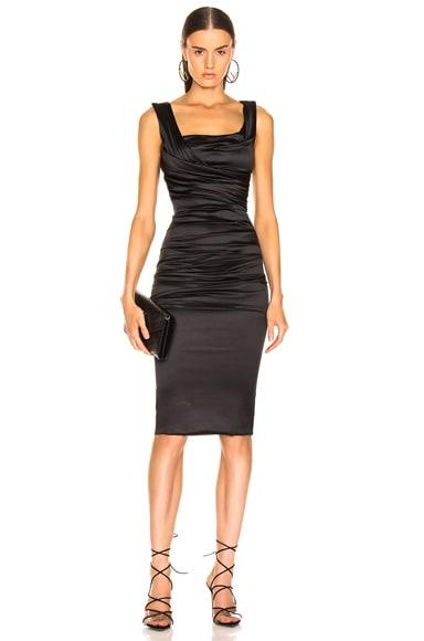 Satin Ruched Sleeveless Dress