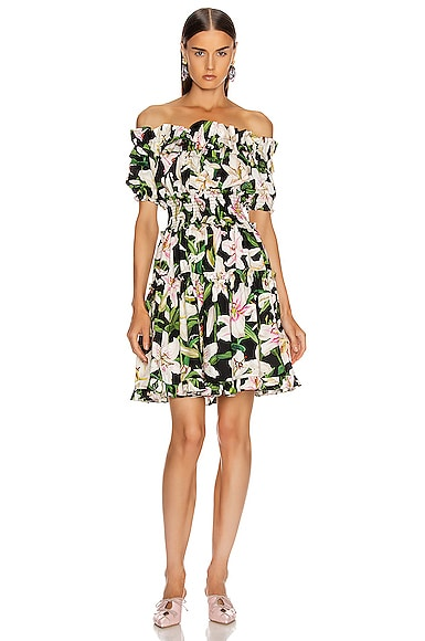 Floral Lilium Poplin Off the Shoulder Dress