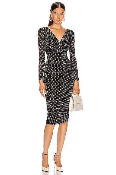 Ruched Long Sleeve Midi Dress