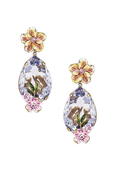 Flower & Crystal Earrings