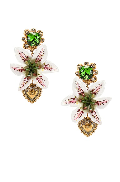 Crystal Lily Embellished DG Heart Earrings
