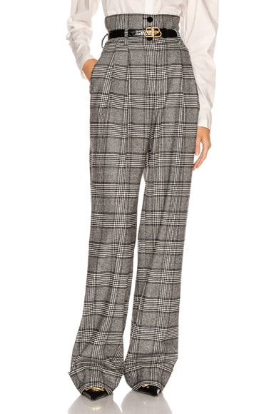 Dolce & Gabbana Check High Waisted Pant In Black,plaid In Grey