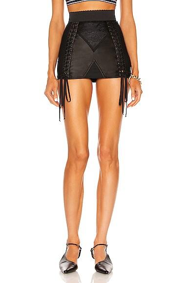 Dolce & Gabbana Lace Up Mini Skirt in Black   FWRD