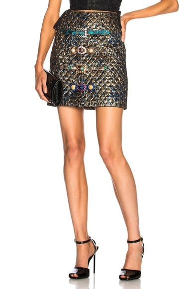Metallic Jacquard Mini Skirt