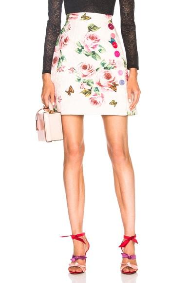 Floral Brocade Mini Skirt