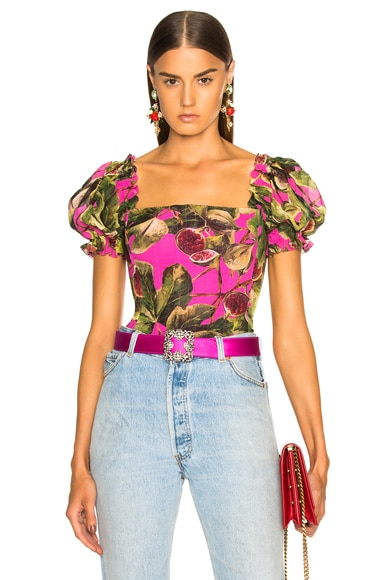 Fig Print Georgette Corset Blouse
