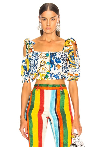 Maiolica Print Cropped Blouse