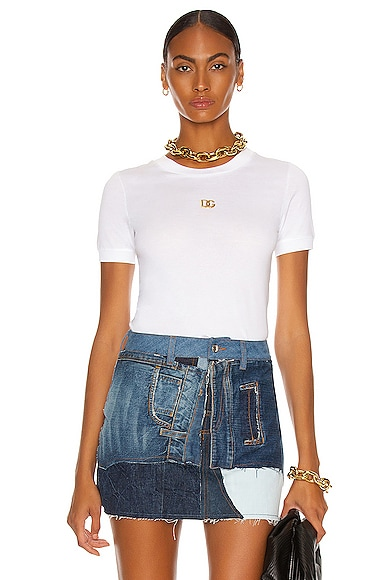Dolce & Gabbana Logo Crew Neck T Shirt In Bianco Ottico