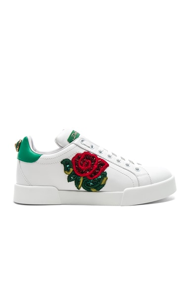 Sequin Rose Leather Sneaker