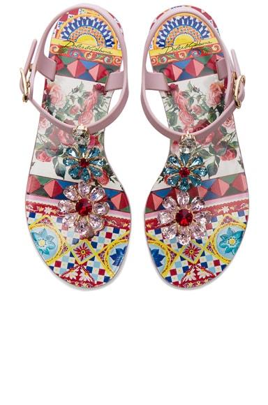 Flower Jewel Jelly Sandals