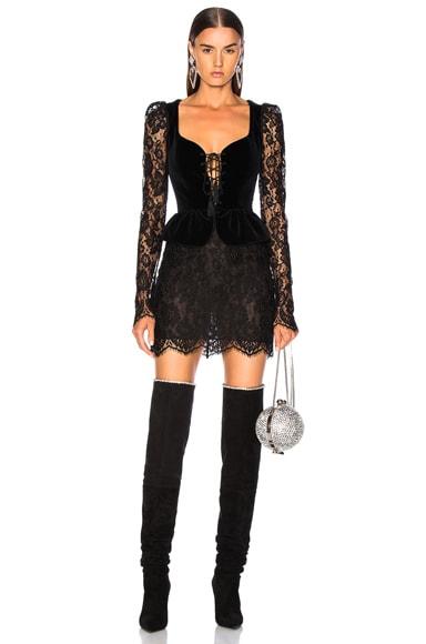Lace & Velvet Long Sleeve Corset Mini Dress