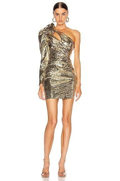 Sequin One Shoulder Mini Dress