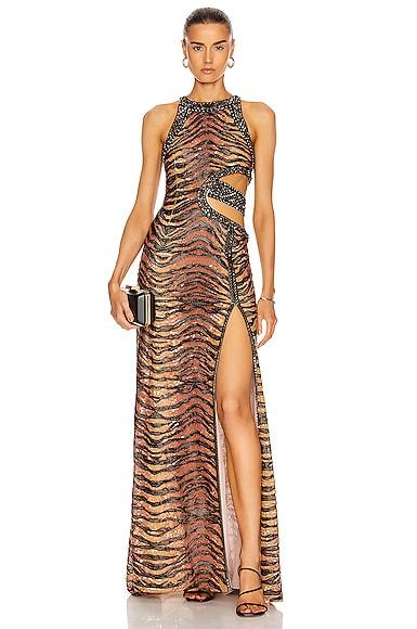 Cut Out Tiger Print Maxi Dress
