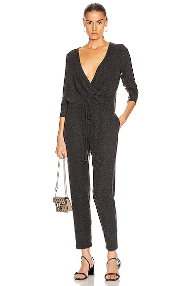Peached Jersey Wrap Front Jumpsuit