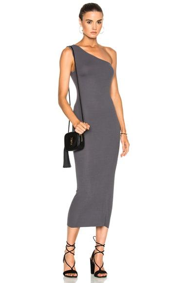 Rib One Shoulder Midi Dress