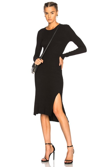 Rib Side Slit Dress