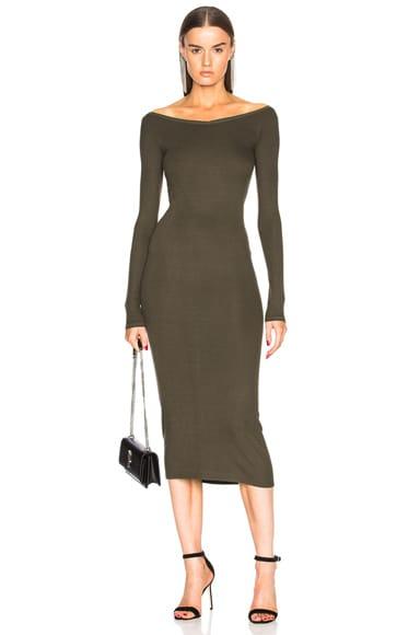 Rib Wide V Neck Dress