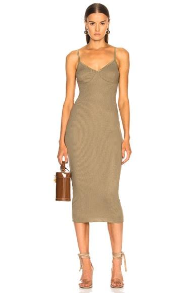 Rib Strappy Bra Midi Dress