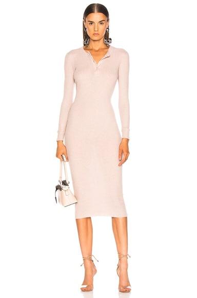 Cashmere Long Sleeve Henley Midi Dress