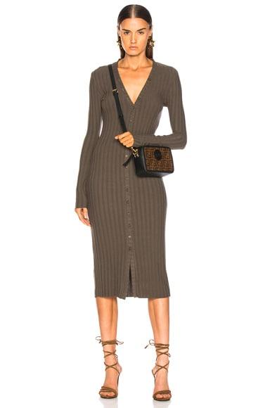 Rib Long Sleeve V Cardigan Midi Dress
