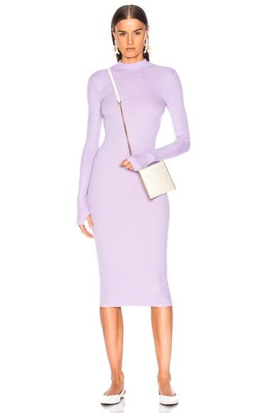 Rib Mock Neck Midi Dress