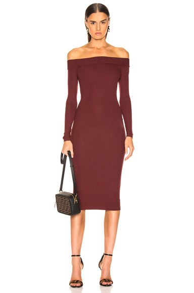 Rib Exposed Shoulder Midi Dress