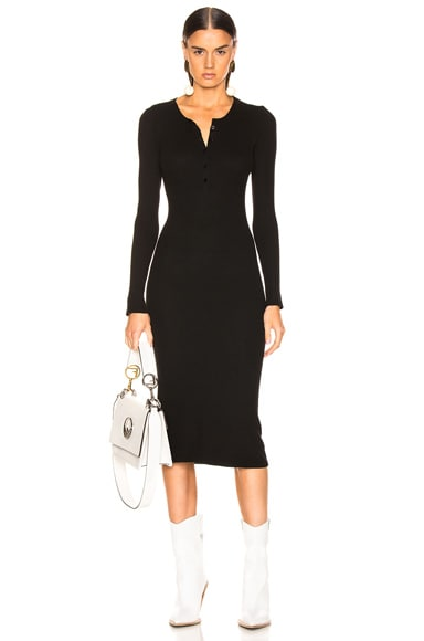 Thermal Long Sleeve Henley Dress
