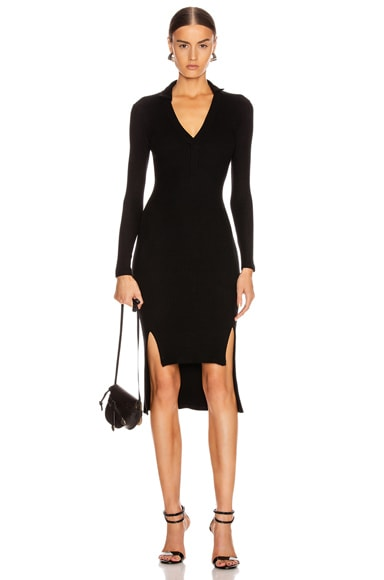 Rib Long Sleeve Step Hem Henley Dress