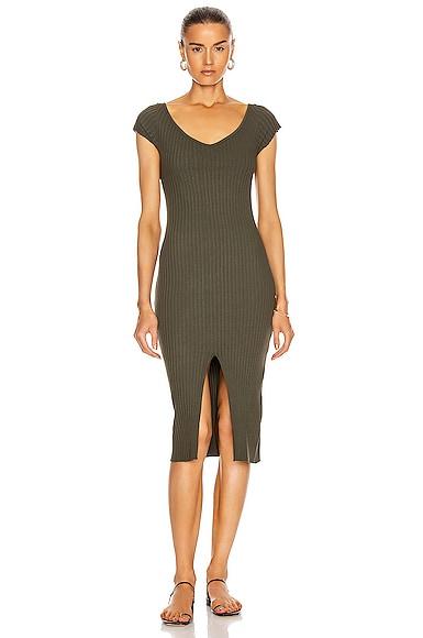 Rib Sweater Knit Soft V Cap Sleeve Midi Dress