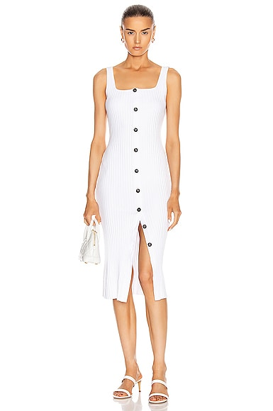 Military Cotton Rib Button Front Midi Dress
