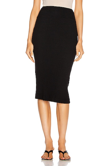 Military Cotton Rib Pencil Skirt