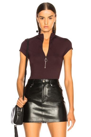 Mock Neck Front Zip Bodysuit
