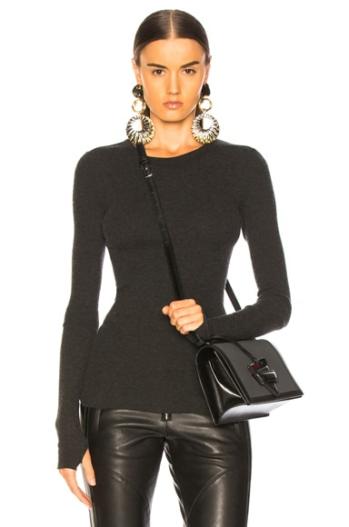 Cashmere Thermal Cuffed Long Sleeve Crew