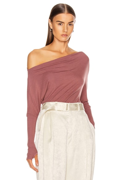 Silk Rib Off Shoulder Long Sleeve Top