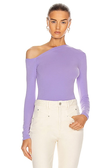 Angled Exposed Shoulder Long Sleeve